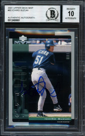 Ichiro Suzuki Autographed 2001 Upper Deck MVP Rookie Card #60 Seattle Mariners Auto Grade 10 Beckett BAS Stock #182375