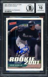 Ichiro Suzuki Autographed 2001 Upper Deck Victory Rookie Card #564 Seattle Mariners Auto Grade 10 Beckett BAS Stock #182396