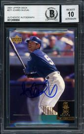 Ichiro Suzuki Autographed 2001 Upper Deck Rookie Card #271 Seattle Mariners Auto Grade 10 Beckett BAS Stock #182401