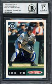 Ichiro Suzuki Autographed 2002 Topps Total Card #25 Seattle Mariners Auto Grade 10 Beckett BAS #12491006