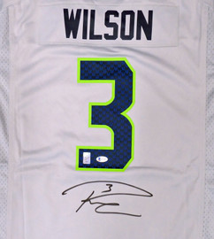 Seattle Seahawks Russell Wilson Autographed Gray Nike Jersey Size XL RW & Beckett BAS Holo Stock #182687
