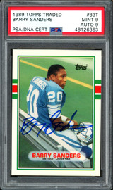 Barry Sanders Autographed 1989 Topps Traded Rookie Card #83T Detroit Lions Auto Grade 9 Card Grade Mint 9 PSA/DNA #48126363