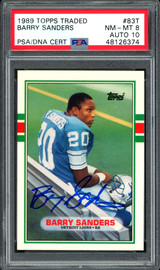 Barry Sanders Autographed 1989 Topps Traded Rookie Card #83T Detroit Lions Auto Grade 10 Card Grade NM-MT 8 PSA/DNA #48126374