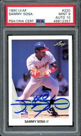 Sammy Sosa Autographed 1990 Leaf Rookie Card #220 Chicago White Sox Auto Grade 10 Card Grade Mint 9 PSA/DNA #46812357