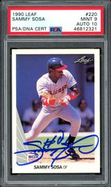 Sammy Sosa Autographed 1990 Leaf Rookie Card #220 Chicago White Sox Auto Grade 10 Card Grade Mint 9 PSA/DNA #46812321