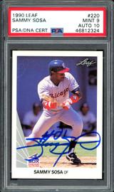 Sammy Sosa Autographed 1990 Leaf Rookie Card #220 Chicago White Sox Auto Grade 10 Card Grade Mint 9 PSA/DNA #46812324