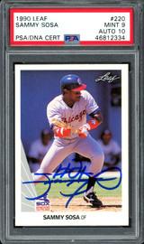 Sammy Sosa Autographed 1990 Leaf Rookie Card #220 Chicago White Sox Auto Grade 10 Card Grade Mint 9 PSA/DNA #46812334
