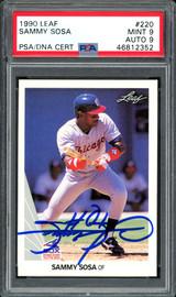Sammy Sosa Autographed 1990 Leaf Rookie Card #220 Chicago White Sox Auto Grade 9 Card Grade Mint 9 PSA/DNA #46812352