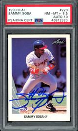 Sammy Sosa Autographed 1990 Leaf Rookie Card #220 Chicago White Sox Auto Grade 10 Card Grade 8.5 PSA/DNA #46812323