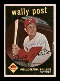 Wally Post Autographed 1959 Topps Card #398 Philadelphia Phillies SKU #182940