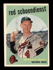Red Schoendienst Autographed 1959 Topps Card #480 Milwaukee Braves Back Damage SKU #182964