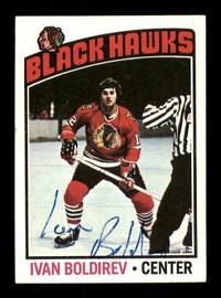 Ivan Boldirev Autographed 1976-77 Topps Card #251 Chicago Blackhawks SKU #183102