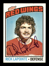 Rick Lapointe Autographed 1976-77 Topps Rookie Card #48 Detroit Red Wings SKU #183129