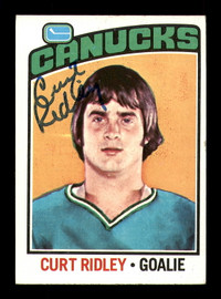 Curt Ridley Autographed 1976-77 Topps Rookie Card #197 Vancouver Canucks SKU #183146