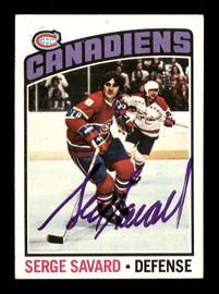 Serge Savard Autographed 1976-77 Topps Card #205 Montreal Canadiens SKU #183151