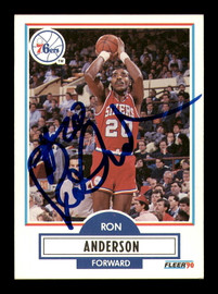Ron Anderson Autographed 1990-91 Fleer Card #138 Philadelphia 76ers SKU #183242