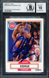 Dennis Rodman Autographed 1990-91 Fleer Card #59 Detroit Pistons Auto Grade 10 Beckett BAS Stock #184726