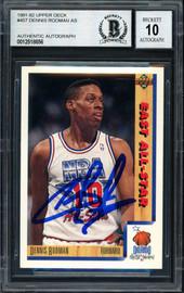 Dennis Rodman Autographed 1991-92 Upper Deck Card #457 Detroit Pistons Auto Grade 10 Beckett BAS #12518856