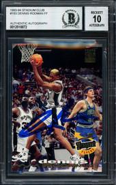 Dennis Rodman Autographed 1993-94 Stadium Club Card #183 San Antonio Spurs Auto Grade 10 Beckett BAS #12518872