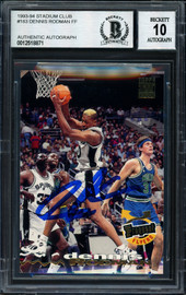 Dennis Rodman Autographed 1993-94 Stadium Club Card #183 San Antonio Spurs Auto Grade 10 Beckett BAS #12518871