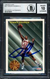 Dennis Rodman Autographed 1993-94 Fleer Card #227 Detroit Pistons Auto Grade 10 Beckett BAS #12518874
