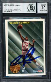 Dennis Rodman Autographed 1993-94 Fleer Card #227 Detroit Pistons Auto Grade 10 Beckett BAS #12518875