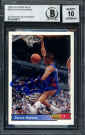 Dennis Rodman Autographed 1993-94 Upper Deck Card #242 Detroit Pistons Auto Grade 10 Beckett BAS #12518877
