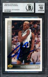 Dennis Rodman Autographed 1993-94 Upper Deck Card #396 San Antonio Spurs Auto Grade 10 Beckett BAS #12518891