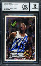 Dennis Rodman Autographed 1994-95 Topps Card #54 San Antonio Spurs Auto Grade 10 Beckett BAS #12518894