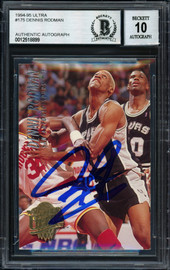 Dennis Rodman Autographed 1994-95 Fleer Ultra Card #175 San Antonio Spurs Auto Grade 10 Beckett BAS #12518899