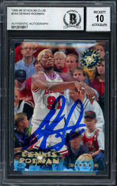 Dennis Rodman Autographed 1996-97 Stadium Club Card #244 Chicago Bulls Auto Grade 10 Beckett BAS #12518917