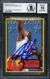 Dennis Rodman Autographed 1996-97 Fleer Card #296 Chicago Bulls Auto Grade 10 Beckett BAS #12518924