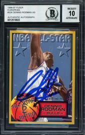 Dennis Rodman Autographed 1996-97 Fleer Card #326 Chicago Bulls Auto Grade 10 Beckett BAS #12518923