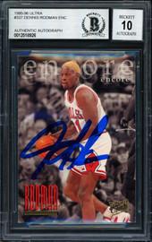 Dennis Rodman Autographed 1996-97 Fleer Ultra Card #337 Chicago Bulls Auto Grade 10 Beckett BAS #12518926