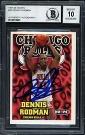 Dennis Rodman Autographed 1997-98 Hoops Card #30 Chicago Bulls Auto Grade 10 Beckett BAS #12518943