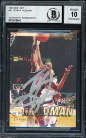 Dennis Rodman Autographed 1997-98 Fleer Card #91 Chicago Bulls Auto Grade 10 Beckett BAS #12518945