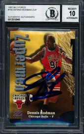 Dennis Rodman Autographed 1997-98 Fleer Z Force Zupermen Card #192 Chicago Bulls Auto Grade 10 Beckett BAS #12518948