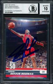 Dennis Rodman Autographed 2007-08 Topps 50th Anniversary Card #29 Chicago Bulls Auto Grade 10 Beckett BAS Stock #184808
