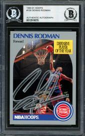Dennis Rodman Autographed 1990-91 Hoops Card #109 Detroit Pistons Beckett BAS Stock #184828