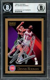 Dennis Rodman Autographed 1990-91 Skybox Card #91 Detroit Pistons Beckett BAS Stock #184829