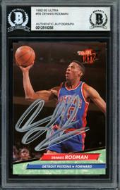 Dennis Rodman Autographed 1992-93 Fleer Ultra Card #58 Detroit Pistons Beckett BAS #12518258