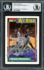 Dennis Rodman Autographed 1992-93 Topps All-Star Card #117 Detroit Pistons Beckett BAS #12518290