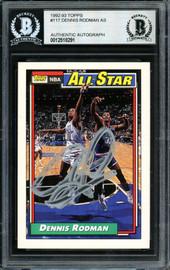 Dennis Rodman Autographed 1992-93 Topps All-Star Card #117 Detroit Pistons Beckett BAS #12518291