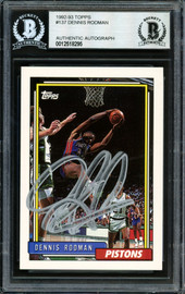 Dennis Rodman Autographed 1992-93 Topps Card #137 Detroit Pistons Signed In Silver Beckett BAS Stock #184851