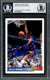 Dennis Rodman Autographed 1992-93 Upper Deck Card #242 Detroit Pistons Beckett BAS Stock #184853