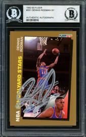 Dennis Rodman Autographed 1992-93 Fleer Card #261 Detroit Pistons Beckett BAS #12518316