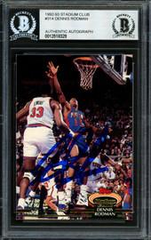 Dennis Rodman Autographed 1992-93 Stadium Club Card #314 Detroit Pistons Signed In Blue Beckett BAS #12518329