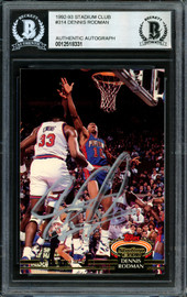 Dennis Rodman Autographed 1992-93 Stadium Club Card #314 Detroit Pistons Signed In Silver Beckett BAS #12518331