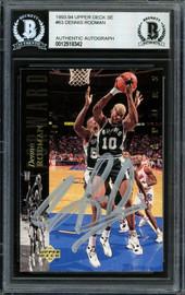Dennis Rodman Autographed 1993-94 Upper Deck Card #63 San Antonio Spurs Beckett BAS #12518342