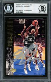 Dennis Rodman Autographed 1993-94 Upper Deck Card #63 San Antonio Spurs Beckett BAS #12518343